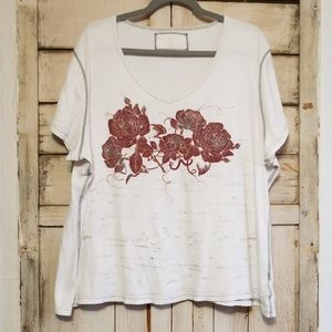 Vintage 90s LL Cool J Red Rose Short Sleeve Top 3X